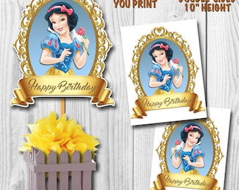 Snow White Centerpiece, Princess Snow White Cake Topper, Double-Sided, Digital File, You Print