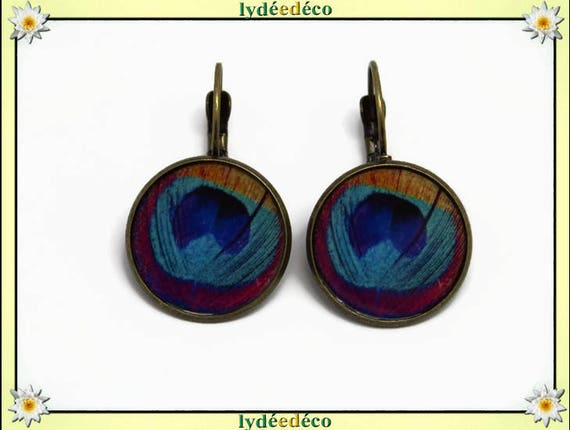 Retro round sleeper vintage peacock blue pink turquoise orange resin brass feather bronze 2cm