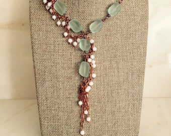 Copper Necklace, Recycled Glass and Copper Necklace, Vintage Jewelry, Copper Jewelry, Recycled Glass