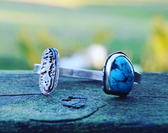 Nature lover - turquoise and sterling silver cuff bracelet with skull and tree - natural turquoise stone