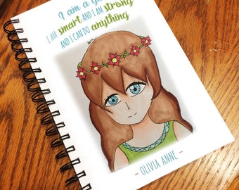 Personalized Notebook Journal - Gift for girl - Christmas gift - design by Jenna