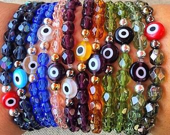 Delicate Womens Faceted Evil Eye Bracelet
