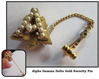 Vintage Small Gold Sorority Pin Brooch w/ Seed Pearls & Attached Chain and Gavel, 1973, Alpha Gamma Delta AGD, University of Washington