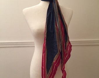 Anne Klein Vintage Scarf - Blue and Red - Girly Scarf - Long Scarf - Retro Scarf