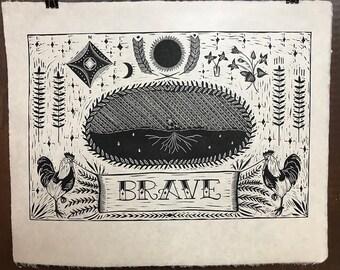 Brave - Linocut print
