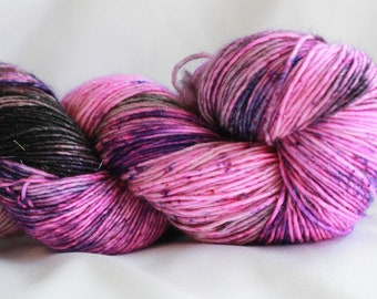 STARRY NIGHT (Speckled Stellina) Hand dyed super wash merino single sock (100 grams) 400 yds free shipping
