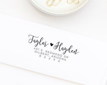 Return Address Stamp, Wood or Self-Inking Address Stamp, Wedding Invitation Stamp, Personalized Stamp, Housewarming Gift, Style No. 115