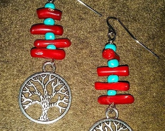 Red Coral Tree of Life Charm Earrings