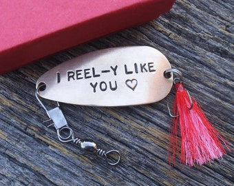 I Reel-y Like You Fishing Lure Keepsake Gift Valentines Day Girlfriend Boyfriend Gift Teenager Prom Invitation Secret Admirer Formal Dance