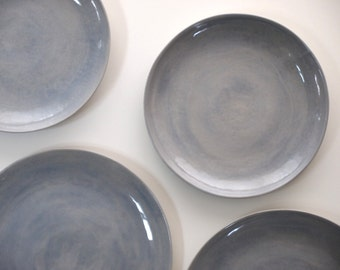 Stoneware Plates Dinner Set glazed in Violet. Ceramic Plate. Pottery Handmade Stoneware Dinnerware & Stoneware Plates Dinner Set glazed in grey. Ceramic Plate.