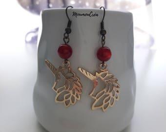 Red Unicorn earrings,
