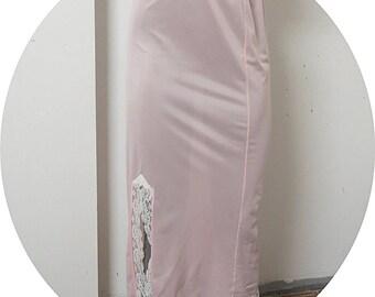 Vintage Pink Long Formal Half Slip  Small #106A
