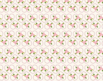 "SALE Riley Blake Designs ""Kewpie Love"" by The RBD Designers- 100% cotton Fabric - Cream - Rose,Floral"
