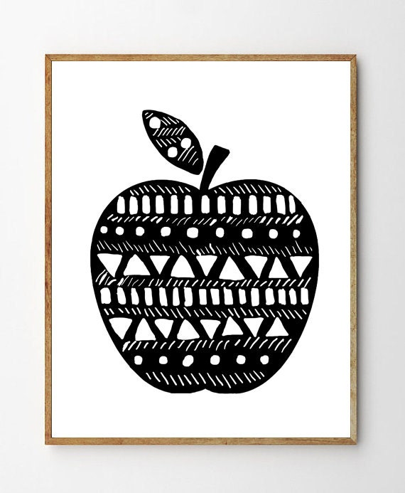 Apple print scandinavian poster black white art nursery
