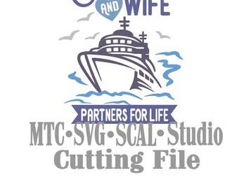 SVG coupe fichier croisière partenaires 4 vie citation disant MTC SCALCricut Silhouette coupe File