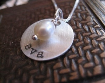 Personalized Hand Stamped Sterling Silver Necklace I've Been Brushed With Love (typewriter font)
