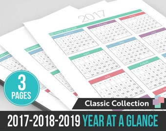 2017 / 2018 / 2019  Year at a Glance - Instant Download! - 3 PDF Files ready to print at home!