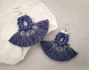 Denim Blue Fan Tassel Earrings Gift for Girlfrend Bohemian Earrings Fringe Earrings Tassel Jewelry