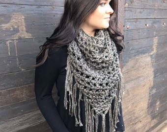 Chunky V Neck Cowl Scarf with Fringe