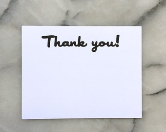 Thank You! Note Cards, Set of 8 Flat Cards with Envelopes
