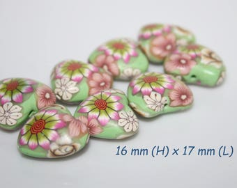 heart polymer beads / Sold by pair
