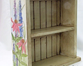 Farmhouse Painted Furniture Shelf with Botanical Garden Flowers