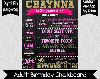 Pink and Gold 30th Birthday Chalkboard - Pink and Gold Adult Birthday - 30th Birthday Chalkboard - 30 AF - Adult cake smash - Any Age