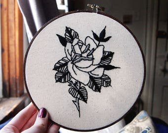 Traditional Rose Tattoo Hoop Embroidery