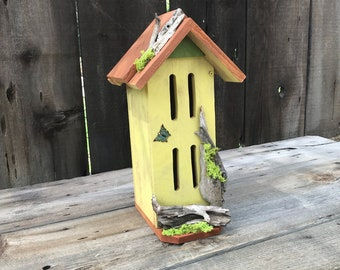Butterfly House, Primitive Rustic Butterflies Habitat Nesting Box with Driftwood, Handmade & Hand Painted Bug Box Garden Art Item #605082129