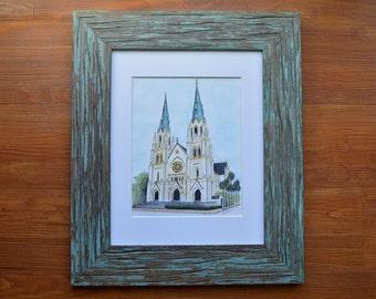 The Cathedral of St. John the Baptist Savannah Watercolor Print