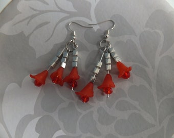 Red lucite dangle and drop earrings
