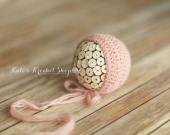 Light Pink Sequined Bonnet Photography Prop