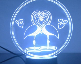 Flamingo Lovers Colour Changing LED Acrylic Light