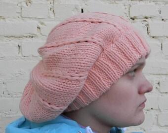 Winter hat slouchy for women peach hat knitted hat Soft Beanie wool winter hat soft pleasant yarn Adult Winter Hat