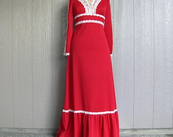 Vintage 70s BE MY VALENTINE Red Maxi Dress