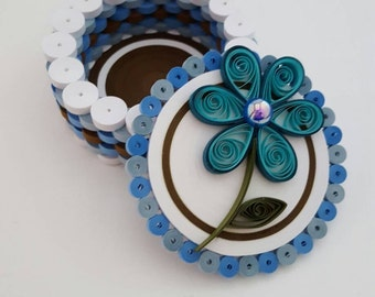 Quilled Blue and Brown Round Trinket Box with Blue Flower