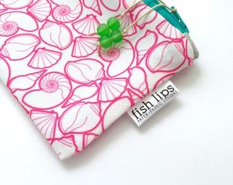 Pink Seashells Recycled Zipper Pouch, Hot Pink Eco Pencil Bag + Glass Bead Tassel, Handmade Make Up Case, Pink Pencil Bag, Gift For Teacher