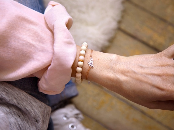 "Real silver ""love"" and wood ""ana"" bracelet paired in harmony, Si Simple, handmade in Montreal, Canada"