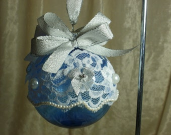 3 Inch Clear Blue Shatter Proof Christmas Ornament