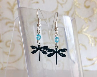 Black Dragonfly and blue beads earrings