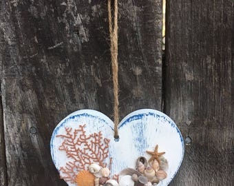 Wood Heart and Tiny Shells - Wall Hanging -