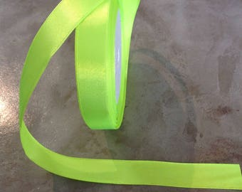 Iridescent - 15 mm - neon yellow satin ribbon