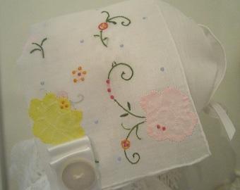 Pastel and White Handkerchief Bonnet