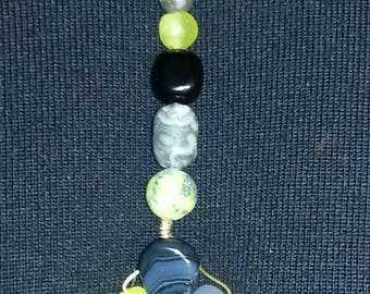 Handmade OOAK #49 gray yellow and black necklace