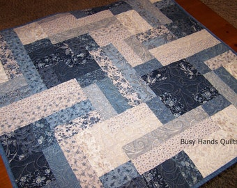 Quilted Table Runner-Blue and Cream-Quilted Wall Hanging-Quilts For Sale-Table Runners-Farmhouse Table Runner-Farmhouse Decor-Handmade Quilt