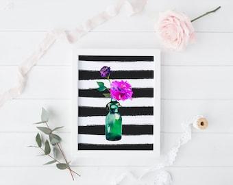 PRINTABLE Art Watercolor Floral Floral Wreath Art Print Floral Art Print Mason jar Home Decor Mason Jar Floral Black and White Stripe