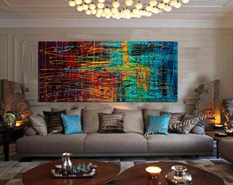 "Oil Painting 72"" Jackson Pollock Style,thick layers contemporary wall art,Palette Knife,colorful Original Painting ON Canvas by Maitreyii"
