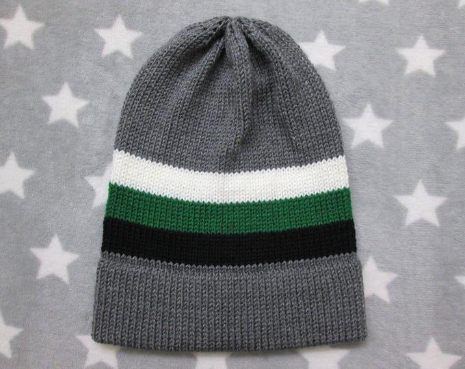 Knit Pride Hat - Neutrois Pride - Grey - Slouchy Beanie