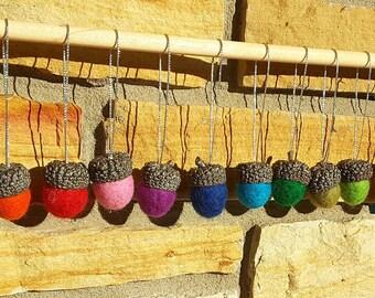 Rainbow Felted Acorn Ornaments