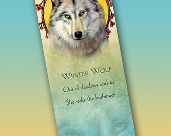 Winter Wolf Bookmark - Bookmarker - Bookmarking - Bookmarks for Books - Book Mark - Reading Bookmark - Wolf Art